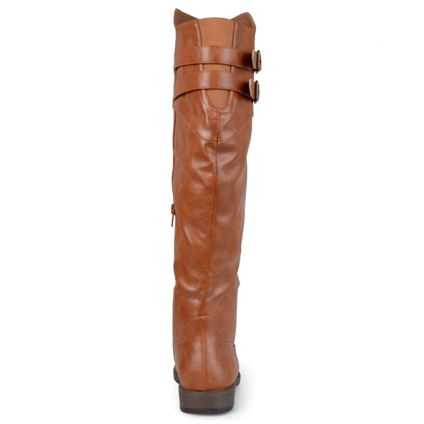 Double-Buckle Knee-High Riding Wide Calf Boot