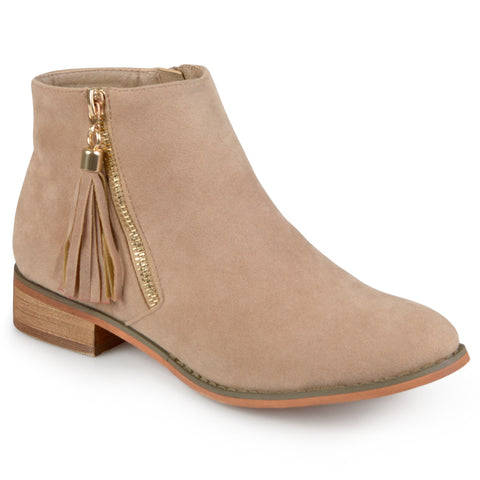 Faux Suede Side Zip Ankle Boots