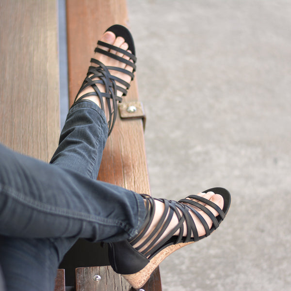 Strappy Faux Leather Wedges
