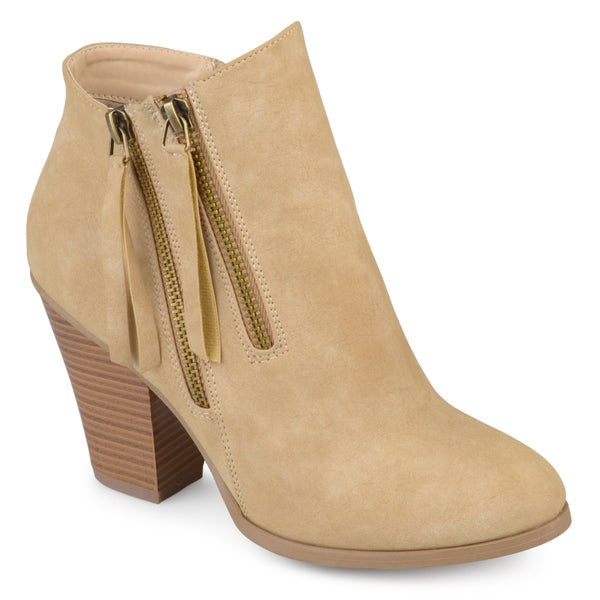 Double Zipper Stacked Wood Heel Booties