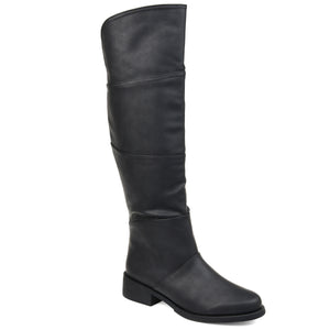 Block Wood Heel Riding Boot Extra Wide Calf