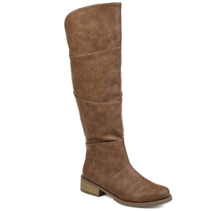Block Wood Heel Riding Boot Wide Calf