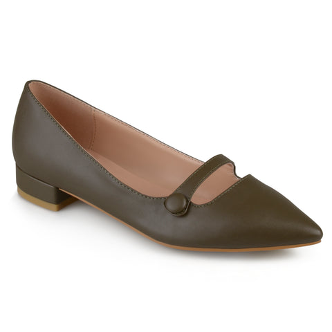 Faux Leather Pointed Toe Flats
