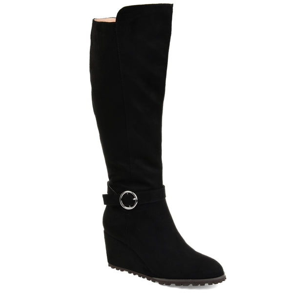 Lug Sole Ankle Buckle Wedge Boot Wide Calf
