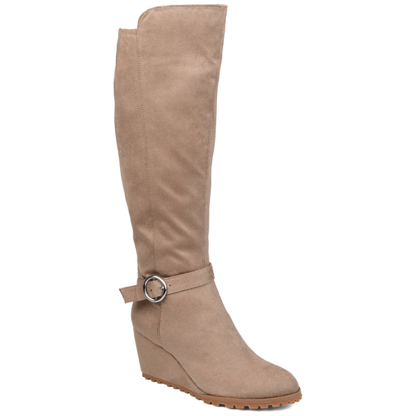 Lug Sole Ankle Buckle Wedge Boot Extra Wide Calf