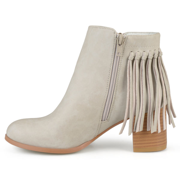 Faux Leather Fringe Boots
