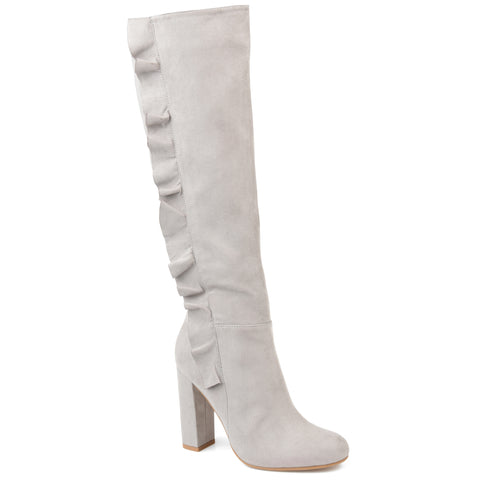Sleek Ruffle Side Heeled Boot Wide Calf