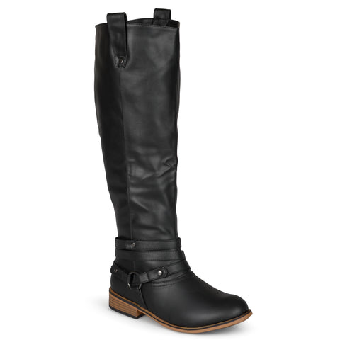 XWide Calf Distressed Strappy Riding Boot