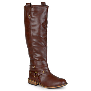 Distressed Strappy Riding Boot