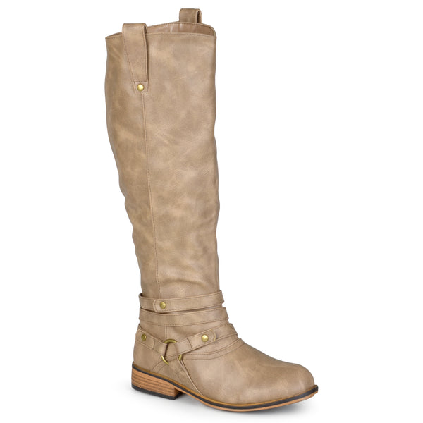 Distressed Strappy Riding Wide Calf Boot