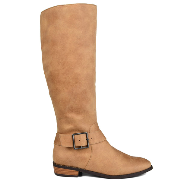 Knee-high Buckle Riding Wide Calf Boot