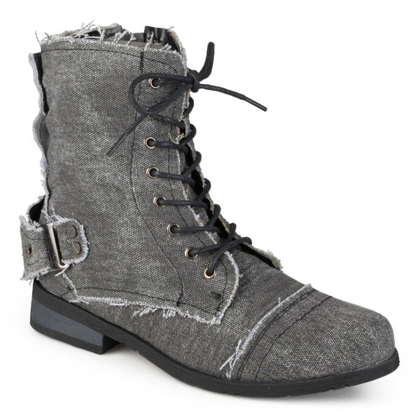 Lace-up Buckle Detail Boots