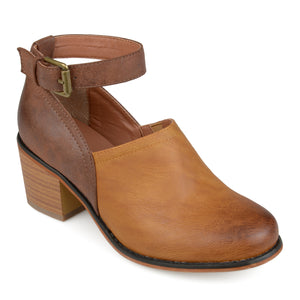 Ankle Strap Wood Stacked Heel Clogs