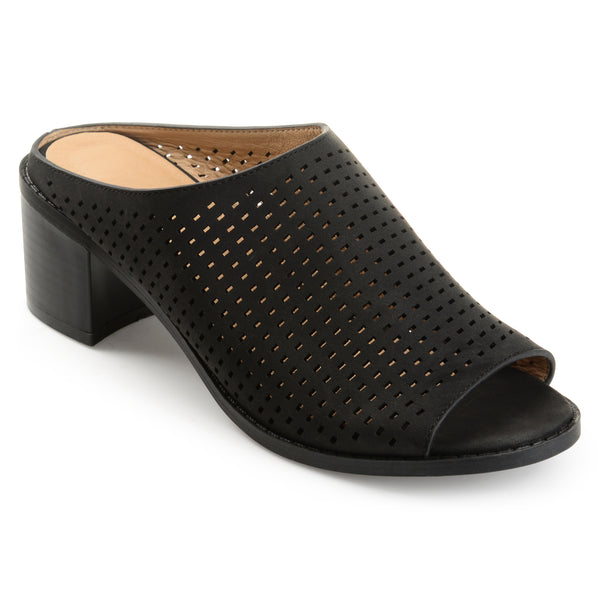 Perforated Open-toe Mules