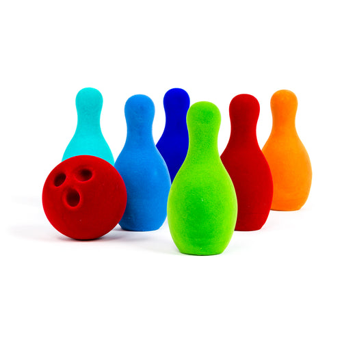 7 Piece Bowling Set with 6 colorful pins and 1 red bowling ball.