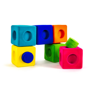 Rubbabu 13 PC Rubbablox Building Blocks with 6 Large Blocks and 7 Connectors in Bright Colors