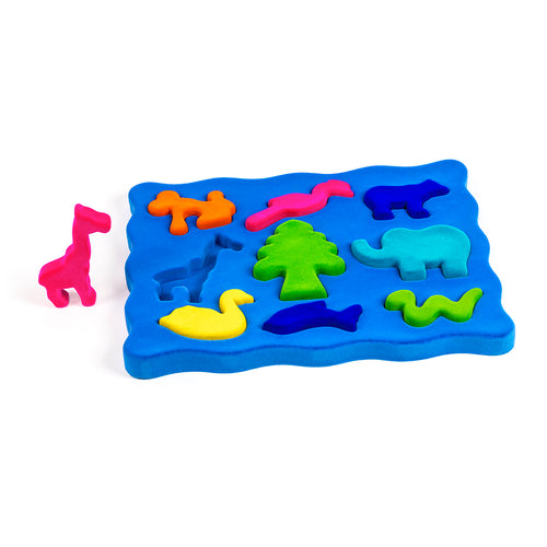 3D shape sorter with blue base and colorful soft animal pieces that fit into the base like a puzzle.