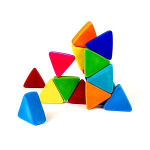 Rubbabu Triangles 16 Piece in Assorted Bright Colors.