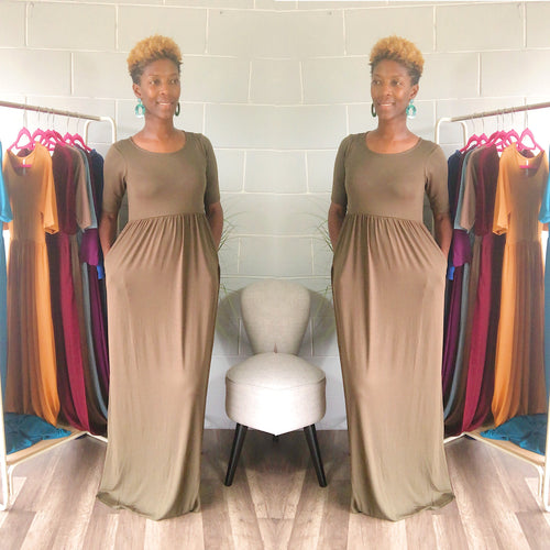 'Relaxed N' Chilled Maxi Dress (Olive)