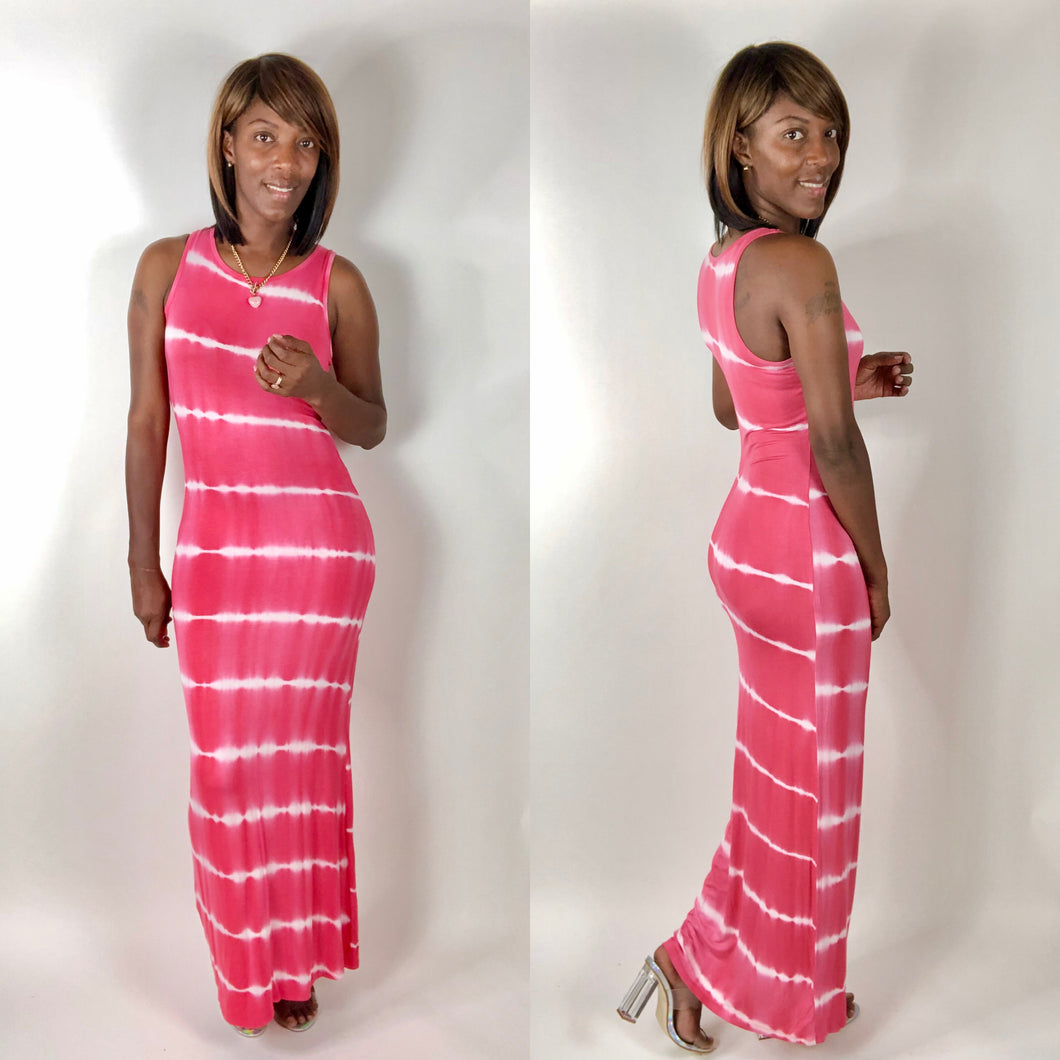 Yelette | Striped Maxi Dress - Pink