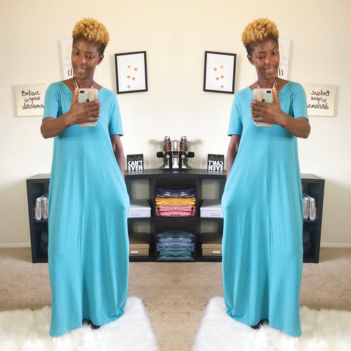 Relax N Chill Maxi Dress (Ash Teal) - Request Restock