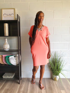 It's The Weekend Tshirt Dress (Coral)