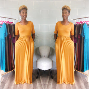 'Relaxed N' Chilled Maxi Dress (Mustard) - Request Restock