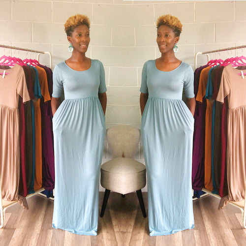'Relaxed N' Chilled Maxi Dress (Ash Blue) - Request Restock