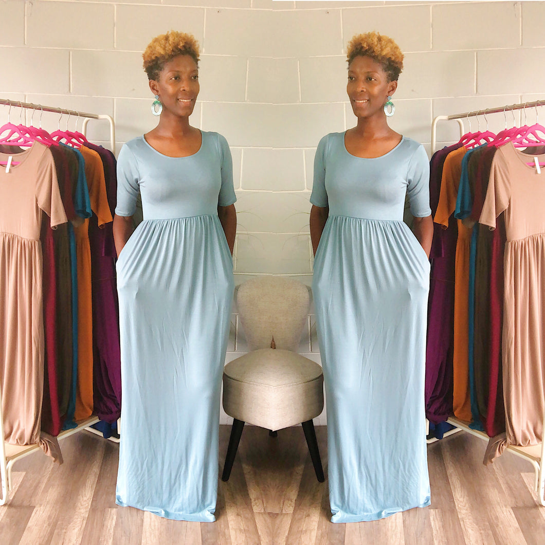 'Relaxed N' Chilled Maxi Dress (Ash Blue)