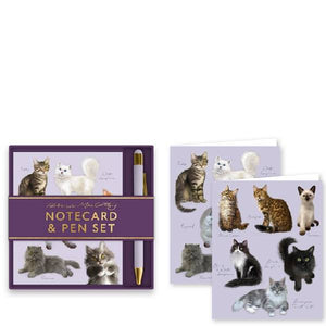 Patricia MacCarthy Cats Notecard & Pen Set - Available Late APRIL