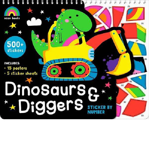 Dinosaurs & Diggers Sticker By Numbers