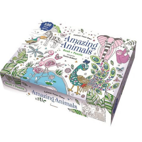 Colour Your Own Book & Puzzle Amazing Animals