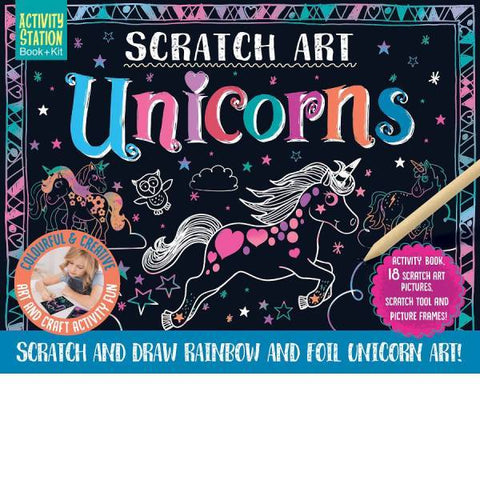 Scratch Art Unicorns Book + Kit