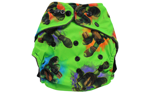 POCKET WASHABLE DIAPER - TURTLE POWER - 9 TO 34 LBS