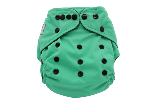 POCKET WASHABLE DIAPER - HIP HUGGERS LOGO / GREEN - 9 TO 34 LBS