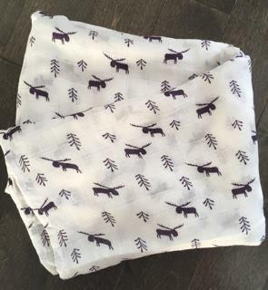 BABY SECURITY BLANKET OF MUSLIN – MOOSE