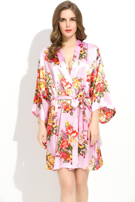 Bridesmaid Robe Bride Robe Ivory Personalized Robe Monogram Kimono Robe Floral Satin Robe Pink