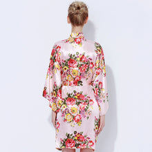 Bridesmaid Robe Bridal Party Gifts Kimono Floral Satin Robe