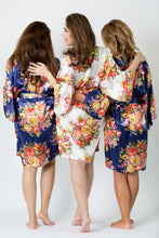 Bridesmaid Robe Bride Robe Ivory Personalized Robe Monogram Kimono Robe Floral Satin Robe Navy