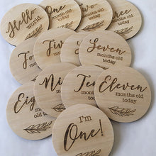 Load image into Gallery viewer, Engraved Wooden Milestone Discs