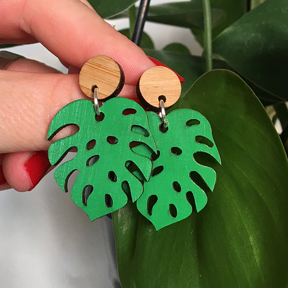 Monstera Dangly Earrings