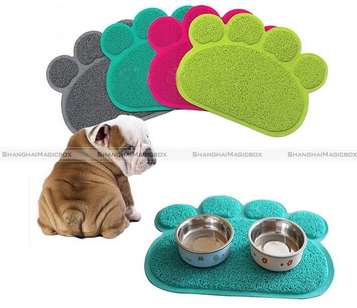 ShanghaiMagicBox Dog Puppy Paw Shape PVC Placemat Pet Cat Dish Bowl Feeding Food Mat Wipe Clean 40515327