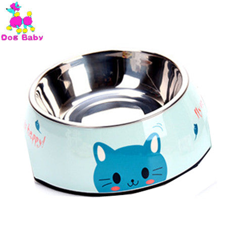 DOGBABY Stainless Steel Dog Bowl Pink Blue Cats Bowls Print Pattern Pet Food Feeders Health Plastic Water Sigle Bowl For Dog Cat