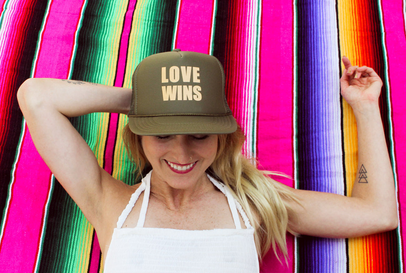 Love wins, trucker hat, mexican blanket, tattoo mom, mothersun and the captain, millennial mom