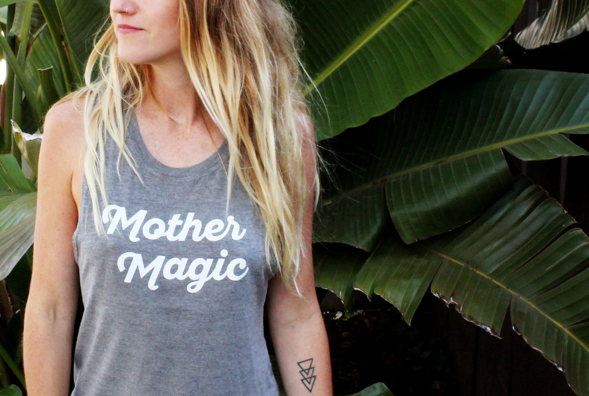 mother magic, modern motherhood, millenial mama, mothersun and the captain, santa barbara, tattoo mom, breastfeeding tanks, nursing friendly tanks