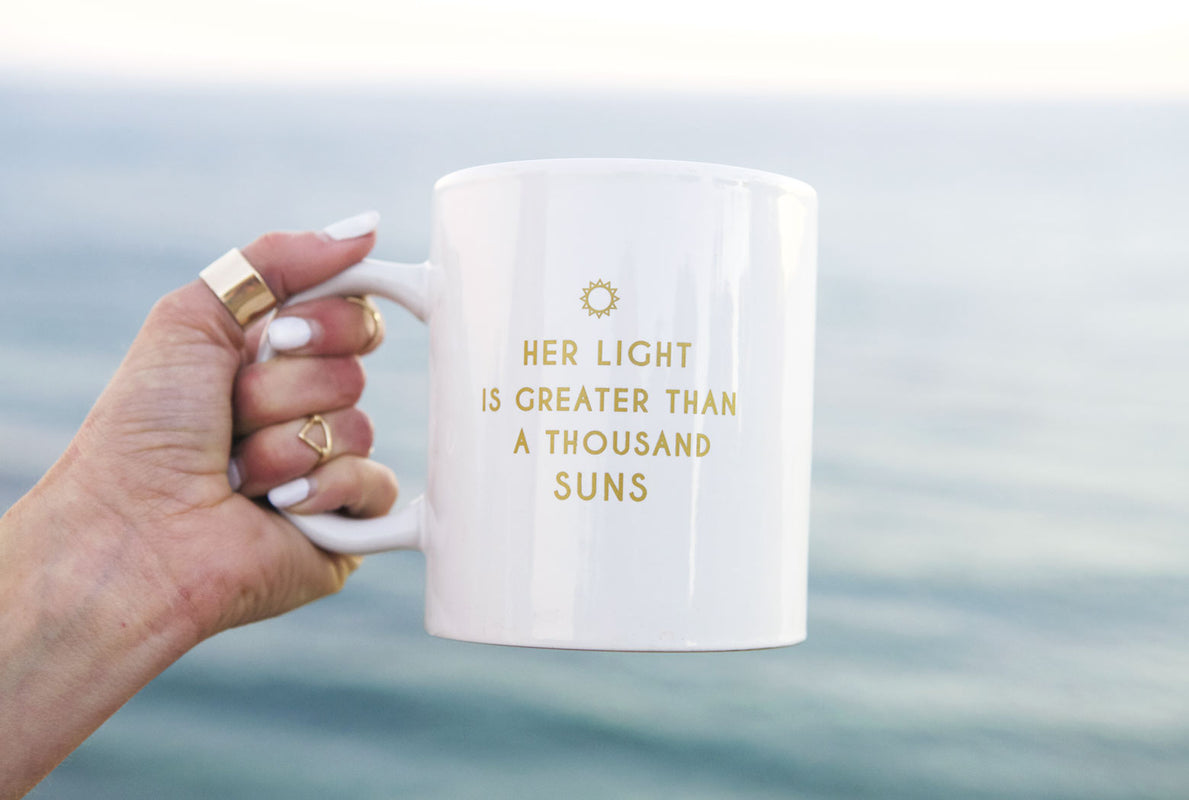 Goddess Mug, Mothersun and the Captain, coffee mug, tea mug, home decor, her light is greater than a thousand suns