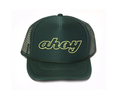 ahoy hat, ahoy trucker hat, mothersun hats, handprinted, made in california, child trucker hat