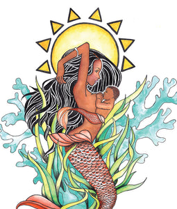 breastfeeding mermaid mama art print