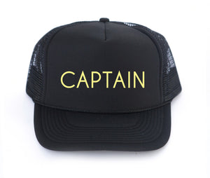 Captain kid trucker hat in black