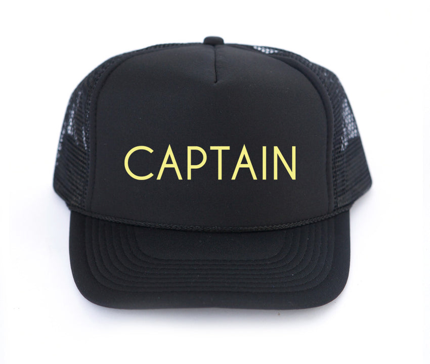 captain trucker hat in black